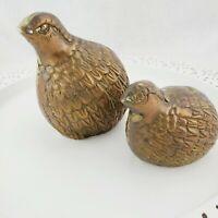 Vintage Lot of 2 Brass Quail Figures MCM Mid Century Modern Female & Chick
