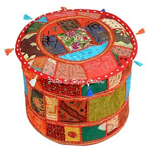Ethnic Ottoman Footstool Pouf Cover Cotton Patchwork Alteration Round 18 Inch