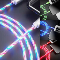LED Flowing Light Up USB Sync Charger Data Cable Charging Cord Type-C iphone