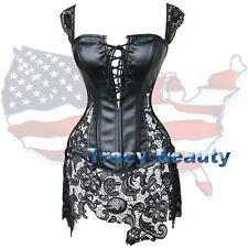 Black/White Goth Overbust Corset Dress Lace Embroidery Skirt Bustier Dress TB Z