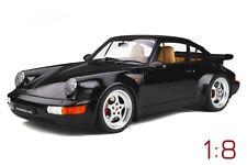 Porsche 911 (964) 3.6 Turbo Baujahr 1991 black + Vitrine 1:8 GT SPIRIT GTS80011
