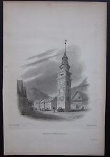 1828 TELL'S TOWER ALTORF Altdorf William Bockedon Finden acquaforte su acciaio