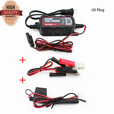 12V/6V Motorcycle Car Battery Charger 1200mA Maintainer For Lead Acid Batteries