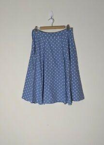 Revival Size 12 Blue White Polka Dots Midi Flare Cotton Skirt Party