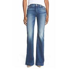7 For All Mankind Dojo 25 Tailor-less Blue Wide Leg Trouser Flare Women's Jeans