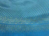 Blue Gold Thai Silk Traditional Fabric Wedding Dress Damask Pattern 44' Drape