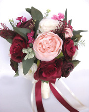 17 piece Wedding Bouquet package Bridal Silk Flower BURGUNDY PINK BLUSH EGGPLANT
