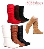Women's Cute & Comfort Round Toe Flat Slouchy Mid Calf Knee High Boot Size 5- 10