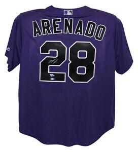 Nolan Arenado Autographed Colorado Rockies Majestic Purple XL Jersey FAN 25406