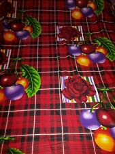 Beautiful red black checked cherry rose 100% cotton bed sheet with 2 pillowcases