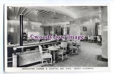 LS0462 - Cunard Liner - Queen Elizabeth , Obs Lounge & Cocktail Bar - postcard
