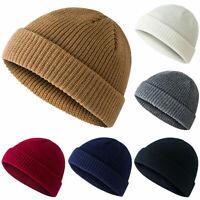 Men Women Knit Baggy Beanie Warm Winter Hat Ski Slouchy Fisherman Docker Cap EN