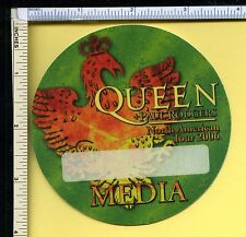 Queen & Paul Rodgers 2006 Cloth Media Pass; Backstage Pass; Green; Round