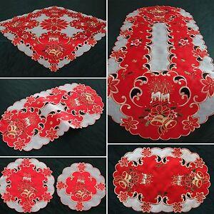 Weihnachten Tischläufer Tischdeckchen Organza Weiß Rot Tischdecke Mitteldecke
