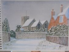 VINTAGE SNOW BRIGHTLING CHURCH SIGNED ORIGINAL WATERCOLOUR PAINTING ON PAPER
