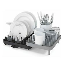 2 Tier Dish Rack Drainer Adjustable Plastic Spikes Connect Dish Drainer Tray UK