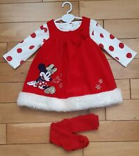 🎅 Baby Girls Minnie Mouse Christmas Dress , Pinafore, Bodysuit 3 to 6 months 🎅