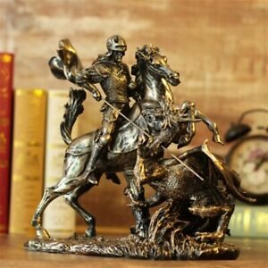 Greek Knight Warrior Fight The Dragon Figurine Tabletop Home Office Decoration S