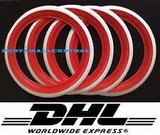 "Classic Oldtimer 16"" Red&White Wall Portawall Tire insert trim set x4"