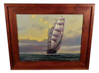VINTAGE NAUTICAL MARITIME SEASCAPE OIL PAINTING JOHN KELLEY SHIP HANS SKALAGARD