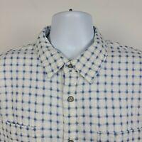 Carbon2Cobalt Blue White Geometric Flannel Check Mens Dress Button Shirt Large L