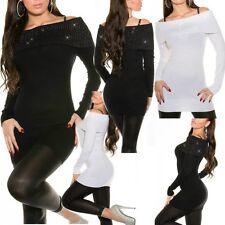 ♥ SeXy Miss Damen Long Pulli carmen Pullover Rolli 34/36/38 Glamour Lurex silber