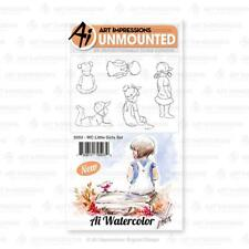 Art Impressions Watercolor Cling Rubber Stamps-Little Girls 5053