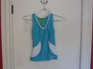SKINS Women  Racer back Fitness/ cycling Shirt-size Small-azure,emerald,white
