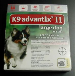 K9 Advantix II Large Dog Dogs 21-55 lbs 2 Month Control Fleas Ticks Mosquitoes