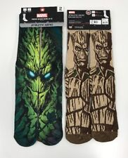 2- Marvel Guardians of the Galaxy Groot Mens 6-12 Athletic Socks Polyester NEW