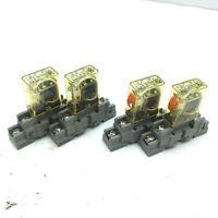 Lot of 2 Idec RH1B-UL & 2 RH1B-ULC Relays 24VDC Coil, SPDT 10A 240V DIN Sockets