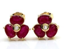 3.85 Carat Natural Red Ruby & Diamond 14K Solid Yellow Gold Stud Earrings