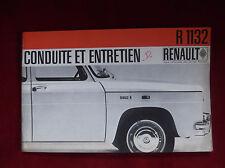 RARE Notice d'entretien RENAULT R 1132 avec transmission classique, automatique