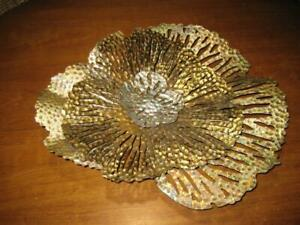 """Gold/Silver Multilevel Metal 3D Floral/Coral Design Wall Art  ~ 17"""" X 15"""" X 4"""""""