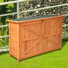 Wooden Garden Shed Cabinet Yard Lockable Storage Unit W/ Double Doors Outdoor
