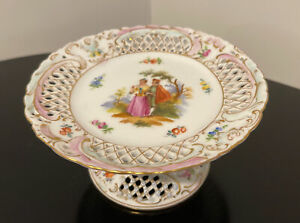 Dresden Germany Reticulated Pierced Porcelain Figural Compote Pedestal Bowl