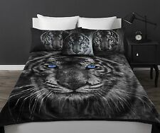 New White Tiger Queen / King Size Mink Blanket + Pillowcases + Cushion 600gsm