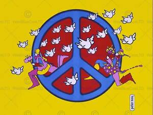 PEACE MOVEMENT USA SIGN CND HIPPY DOVE LOVE HOLTOM ART PRINT POSTER CC1743