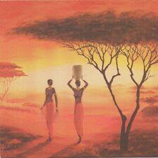 Lot de 4 Serviettes en papier Afrique Femmes Decoupage Collage Decopatch