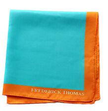 Thomas Frederick turquoise carré de poche avec bordure orange mouchoir ft1662