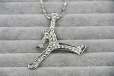 "Hip Hop Silver CZ Air Jordan Necklace With 30"" Ball Chain"