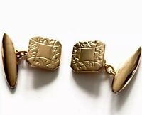 VINTAGE PAIR Gold TONE / PLATED  SQUARE CUFFLINKS - Gift Boxed