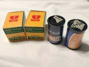 Lot of 4 rolls 35mm expired/original packaging film 2 rolls Tri-X B/W & 2 rolls