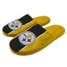 Pittsburgh Steelers NFL Men's Big Logo Stripe Slipper, 4 Sizes Available, FREE