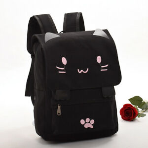 Lolita Girls Cute Cat Embroidery Black Schoolbag Backpack School Bag Rucksack