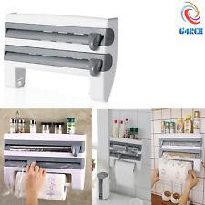 Kitchen Towel Foil 4-in-1 Roll Holder Cling Film Dispenser Wall Mounted Rack UK