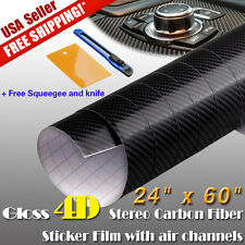 "24""x60"" 4D Black Gloss Carbon Fiber Vinyl Wrap Car Motor Body Decal Bubble Free"