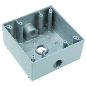 """Pass & Seymour WPB232 AllWeather 3 Hole 1/2"""" 2 Gang Outlet Boxes (5)"""