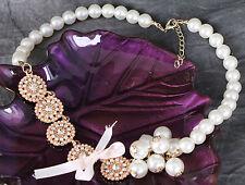 MS-346 Perlen Schleife Kette Halskette Pearls Bowknot Necklace Mode Schmuck