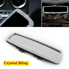 Crystal Bling Car Rear Flat View Mirror Wide-angle Lens Driving Reversing Safety